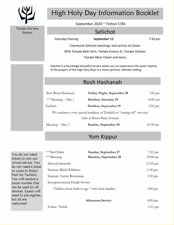 High Holy Day Schedule